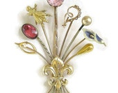 Vintage Antique Victorian Edwardian 14k and 10k Gold and Seed Pearls Stick Pins Collection Brooch
