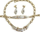 Vintage Clear ICE Pave Rhinestone BIB Necklace, Bracelet, and Earrings Demi Parure Set
