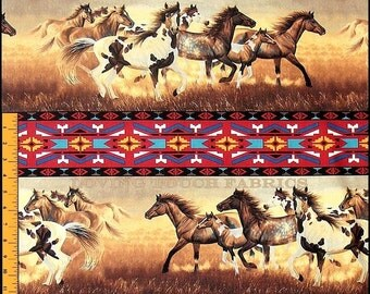"Windham ""Painted Desert"" Horses Southwest Cotton Stripes Fabric 35 1/4"" X 44"""