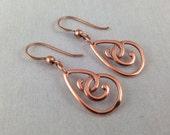 Copper Teardrop Earrings, Metal Earringsl Copper Jewelry