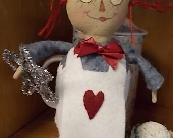 Felt Primitive Folk Art Raggedy Ann Doll or Ornament