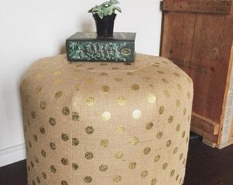 TALL Burlap Pouf - Metallic Gold Dot - Stuffed Ottoman