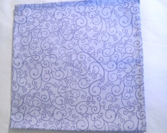 Pocket Square,  Cotton Fabric, Blue Swirls, Matching Accessory, Country Wedding, Ready To Ship