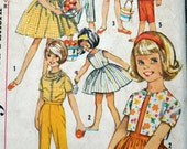 Simplicity 4969 - Cute Girls Mix & Match Wardrobe - Vintage Pattern - Skirt, Top, Pants, Jacket, Top, Scarf, Etc. - 1960s - Size 8 - UNCUT