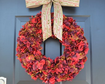 Red Hydrangea Holiday Wreath- Christmas Wreaths- Christmas Hydrangea Wreath- Christmas Decor- Christmas Gift for Her