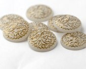 Vintage Crystal Lucite Etched Frosted Gold Cabs Cabochons 20mm (8) Flatbacks
