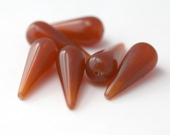 Vintage Carnelian Lucite Drop Beads Teardrop 29mm (6)