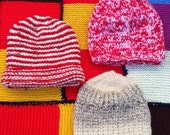 Traditional hand knitted by Nanna's hipster baby hat set age 3-6 months red biege boys girls unisex twins oatmeal flek striped chunky knit