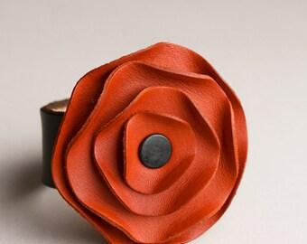 leather cuff, leather scarf cuff, Carrot orange poppy scarf cuff, California poppy