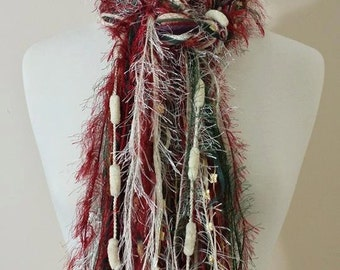 Vintage Christmas - Fringe Scarf Knotted Scarves - Burgundy, Forest Green and Cream