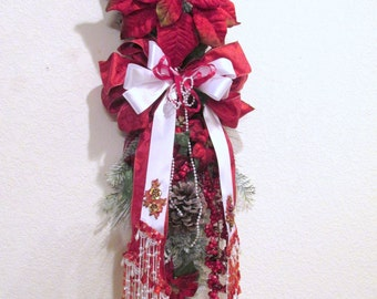 Red and Snowy White Poinsettia Elegant Victorian Style Beaded Vertical Door Swag for Christmas Wreath or Home Decor
