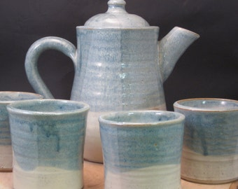 Handmade Ceramic Tea Set - Teapot and Teacups -  Loose Leaf Tea - Antique Blue and Ivory