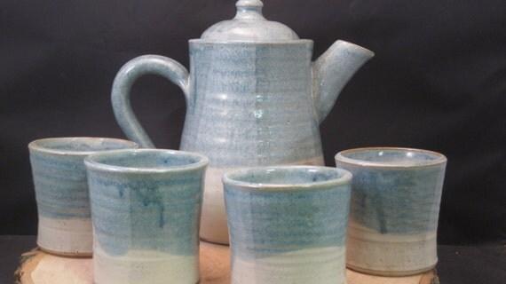 Handmade Ceramic Tea Set - Teapot and Teacups -  Loose Leaf Tea - Antique Blue and Ivory
