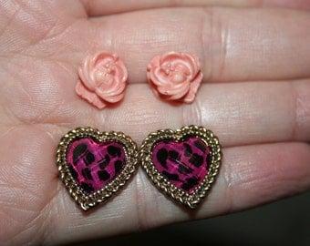 Sale...Vintage Rose and heart 2 pair of earrings -Super cute -lot