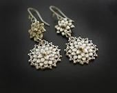 Mum Dahlia Earrings in Sterling Silver