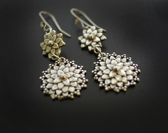 Mum Dahlia Earrings in Sterling Silver