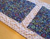 Blue And White Table Runner - Blue And White Floral Runner - Kaffe Fassett - Polka Dots
