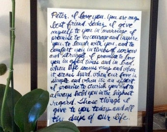 hand-lettered painting (perfect for your wedding vows, favorite passages, meaningful letters, etc.)
