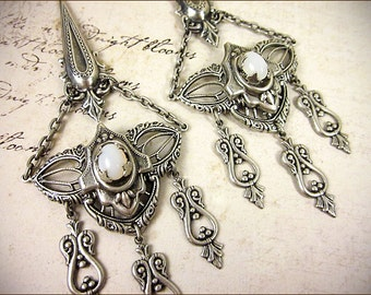 Renaissance, Chandelier Earrings, White Opal, Medieval Wedding, Tudor, Garb, Spike, Bridal, Bridesmaid, Anne Boleyn, Queen, Millicent