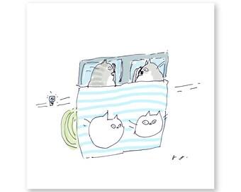 Bedtime Cat Print - Modern Art - Art for Bedroom - Cat Art