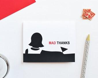 mad men thank you card, retro thank you card, blank inside thank you card, mad men card, greeting card