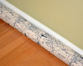 MAP Door Draft Blocker Cover - Air Traffic World Map Natural navy Blue Felix Aviator - Draught excluder - Window Wind Stopper