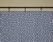 Window Valance Curtain - Navy Blue White Towers - Greek Keys Premier Prints Duck Cloth  - 52x16 or 52x18