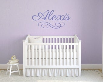 Girl name with swirl wall decal  DB369