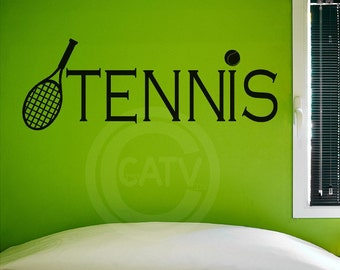 Tennis Decal wall saying vinyl lettering sports self adhesive removable decal
