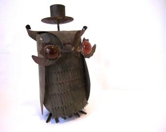 Mid Century Brutalist Metal Owl in a Top Hat Candle Holder w/ Amber glass eyes ~Unique handmade art piece sculpture ~Folk art