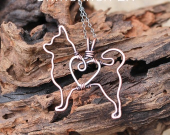 Chihuahua Necklace, Copper Dog, Dog Outline, Wire Jewelry