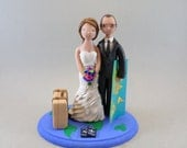 Customized Travel Theme Wedding Cake Topper