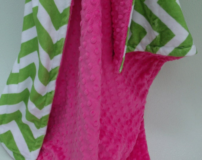Apple Green Chevron and Fuchsia Dot Minky Baby Blanket for Baby Girl Can Be Personalized