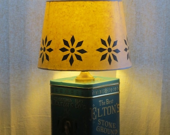 "Printed tin table lamp with decoupage ""stencil"" shade - Elton & Co.  - Enter coupon code PrintTinTin for 10% off!"