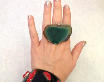 Handmade ring Up-cycled ring Oversized ring Chunky ring Raw Crystal ring teal ring green ring geode ring Statement ring Adjustable ring
