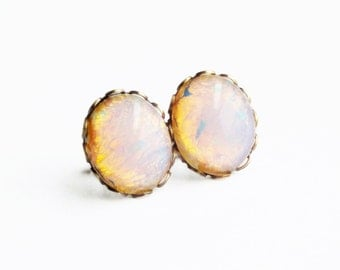 Opal Stud Earrings Vintage Domed Glass Cabochon Posts Hypoallergenic White Opal Jewelry Bridesmaid Gifts For Women