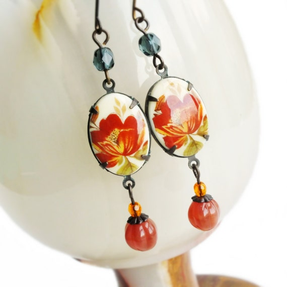 Floral Cameo Earrings Vintage Poppy Limoges Rust Red Indigo Victorian Jewelry
