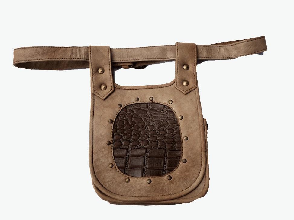 leather festival belt beige 3 pockets utility travel