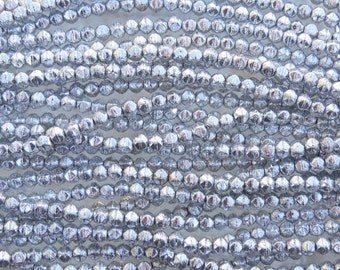3mm Faceted Metallic Silver Vintage Cut Firepolish Czech Glass Beads - Qty 50 (BW185)