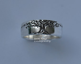 Tree of Life Wedding Band 14K Gold 8mm wide Men's women's//unisex Red Yellow or White