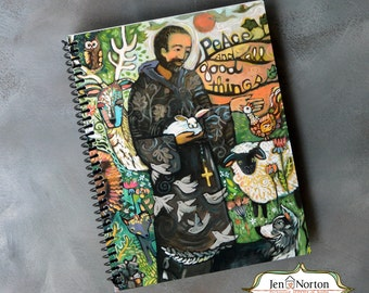 Saint Francis Writing Journal, spiral-bound notebook with lined paper, gift for Catholic, retreat notebook