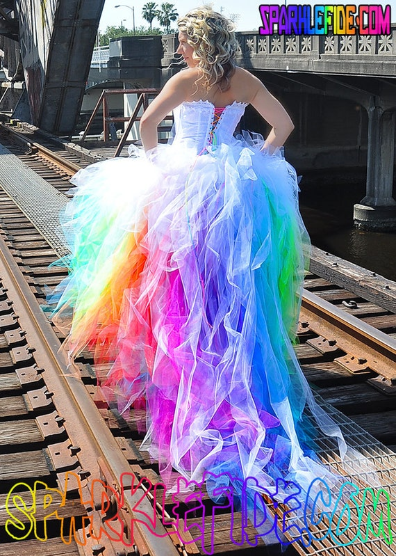 Vivid rainbow wedding dress like this item junglespirit Image collections