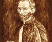 coffee art, Espresso to Gogh, painted using only coffee, Van Gogh, portrait, espresso, coffee break