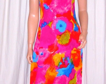Vintage Day Glo Pink Floral Hawaiian Maxi Dress S