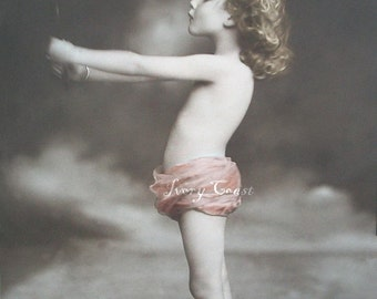 Child with Mirror Digital Download.  Vintage, photo, photograph, girl, pink, soft, angel, clouds, sweet, tutu, image, transfer, #15P/EAP