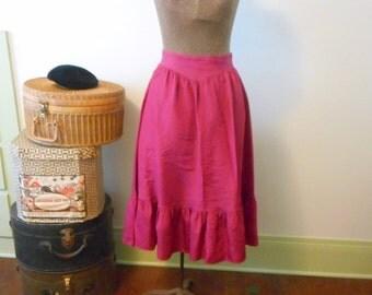 Vintage Jessica's Gunnies Sax Skirt Fuchsia Taffeta Size 11