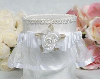 Rose Plush Satin and Organza Wedding Garter - 50102