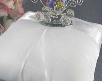 Silver Cinderella Pumpkin Coach Wedding Ring Bearer Pillow -SKU5625