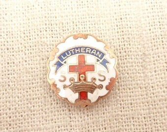 SUPER SALE --- Vintage Gold Filled Lutheran Sunday School Attendee Pin