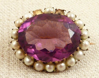 SALE --- Antique Amethyst Glass and Faux Pearl Brass Brooch